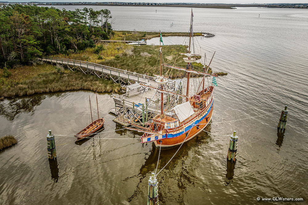 Aerial photograph of Queen Elizabeth II docked in Shallowbag Bay Manteo NC.