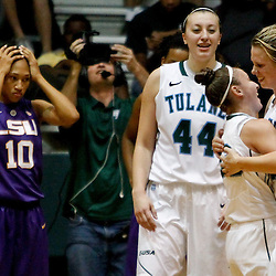 November 19, 2011; New Orleans, LA; Tulane Green Wave Danielle Blagg (20) is embraced by teammates after hitting the winning shot during overtime of a game against the LSU Lady Tigers at Avron B. Fogelman Arena. Tulane defeated LSU 65-62 in overtime. Mandatory Credit: Derick E. Hingle-US PRESSWIRE
