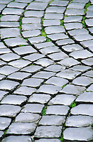 Closeup of cobblestones in a piazza Rome Italy