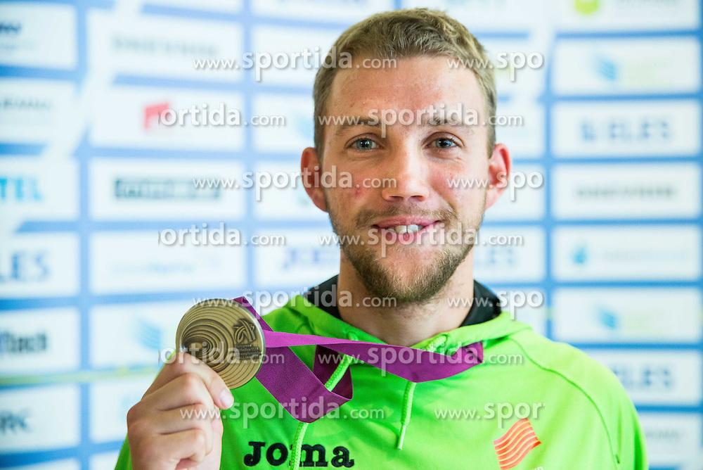 Zan Rudolf, bronze medallist in 800m men during arrival of Slovenian team from European Athletics U23 Championships in Tallinn, Estonia, on July 13, 2015 in Airport Joze Pucnik, Brnik,  Slovenia. Photo by Vid Ponikvar / Sportida