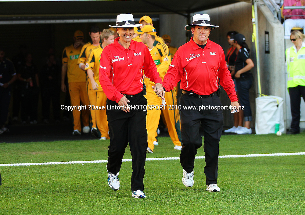 Mtach umpires Billy Bowden and Gary Baxter take the field.<br /> 1st Twenty20 cricket match - New Zealand v Australia at Westpac Stadium, Wellington. Friday, 26 February 2010. Photo: Dave Lintott/PHOTOSPORT