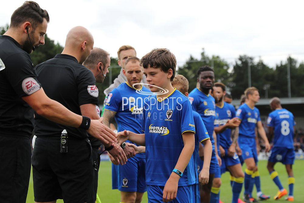 *** during the EFL Sky Bet League 1 match between AFC Wimbledon and Shrewsbury Town at the Cherry Red Records Stadium, Kingston, England on 12 August 2017. Photo by Matthew Redman.