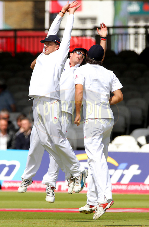 © SPORTZPICS /   Seconds Left Images 2010 - Graeme Swann (L) , Andrew Strauss (capt) & Alastair Cook (BACK)  leap for a high edge that flies over the slips - England v Bangladesh - 1st Test - Day 2 - Lord's Cricket Ground  St. John's Wood, London 28/05/2010 -  All rights reserved.