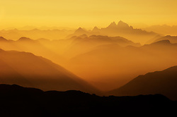 View of Golden Ears Provincial Park mountain range at dusk from Mt.Cheam, Chilliwack, British Columbia, Canada.