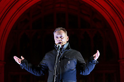 """© Licensed to London News Pictures . 03/02/2015 . Manchester , UK . TERRY CHRISTIAN speaks at the demonstration . Demonstration organised by the Labour Party on the steps of Manchester City Council in Albert Sqaure , Manchester , under the banner """"manVcam"""" ( Manchester vs Cameron ) . Organisers say Manchester - along with Liverpool and Birmingham - have suffered larger cuts than other regional authorities , whilst southern regions such as Surrey , Hampshire and West Sussex have all seen increases in government funding . Photo credit : Joel Goodman/LNP"""
