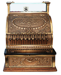 old fashioned cash register, orthographic view on white background