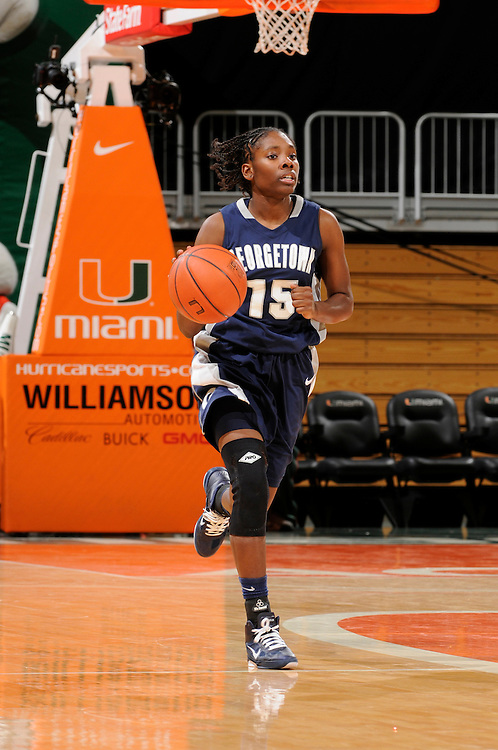 December 7, 2010: Morgan Williams of the Georgetown Hoyas in action during the NCAA basketball game between Georgetown and the Miami Hurricanes. The 'Canes defeated the Hoyas 81-72.