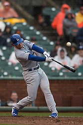SAN FRANCISCO, CA - APRIL 09:  Charlie Culberson #6 of the Los Angeles Dodgers hits an RBI double against the San Francisco Giants during the tenth inning at AT&T Park on April 9, 2016 in San Francisco, California. The Los Angeles Dodgers defeated the San Francisco Giants 3-2 in 10 innings. (Photo by Jason O. Watson/Getty Images) *** Local Caption *** Charlie Culberson
