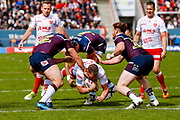 Hull Kingston Rovers second row Danny Tickle (34) dives for the line but is short during the Betfred Super League match between Hull Kingston Rovers and Leeds Rhinos at the Lightstream Stadium, Hull, United Kingdom on 29 April 2018. Picture by Simon Davies.