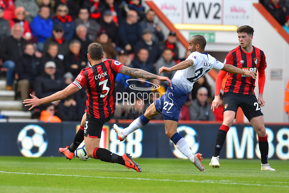 Steve Cook (3) of AFC Bournemouth challenges Lucas Moura (27) of Tottenham Hotspur during the Premier League match between Bournemouth and Tottenham Hotspur at the Vitality Stadium, Bournemouth, England on 4 May 2019.