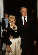 Zaza Gabor arrives atthe 20th Century Fox party during Queen Elizabeth II visit to California in March 1983...Photograph by Dennis Brack b23
