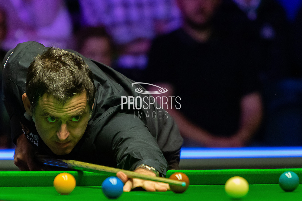 Day 3 of the 19.com World Snooker Home Nations Scottish Open. Action from the Evening session Ronnie O'Sullivan vs James Cahill during the World Snooker Scottish Open at the Emirates Arena, Glasgow, Scotland on 11 December 2019.<br /> <br /> Ronnie O'Sullivan living up to his nickname completing his 4-0 victory over James Cahill in just 32 mins 5 Sec