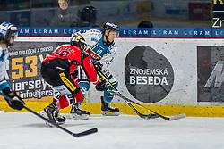 03.01.2018, Ice Rink, Znojmo, CZE, EBEL, HC Orli Znojmo vs EHC Liwest Black Wings Linz, 36. Runde, im Bild v.l. David Bartos (HC Orli Znojmo) Erik Kirchschlager (EHC Liwest Black Wings Linz) // during the Erste Bank Icehockey League 36th round match between HC Orli Znojmo and EHC Liwest Black Wings Linz at the Ice Rink in Znojmo, Czech Republic on 2018/01/03. EXPA Pictures © 2018, PhotoCredit: EXPA/ Rostislav Pfeffer