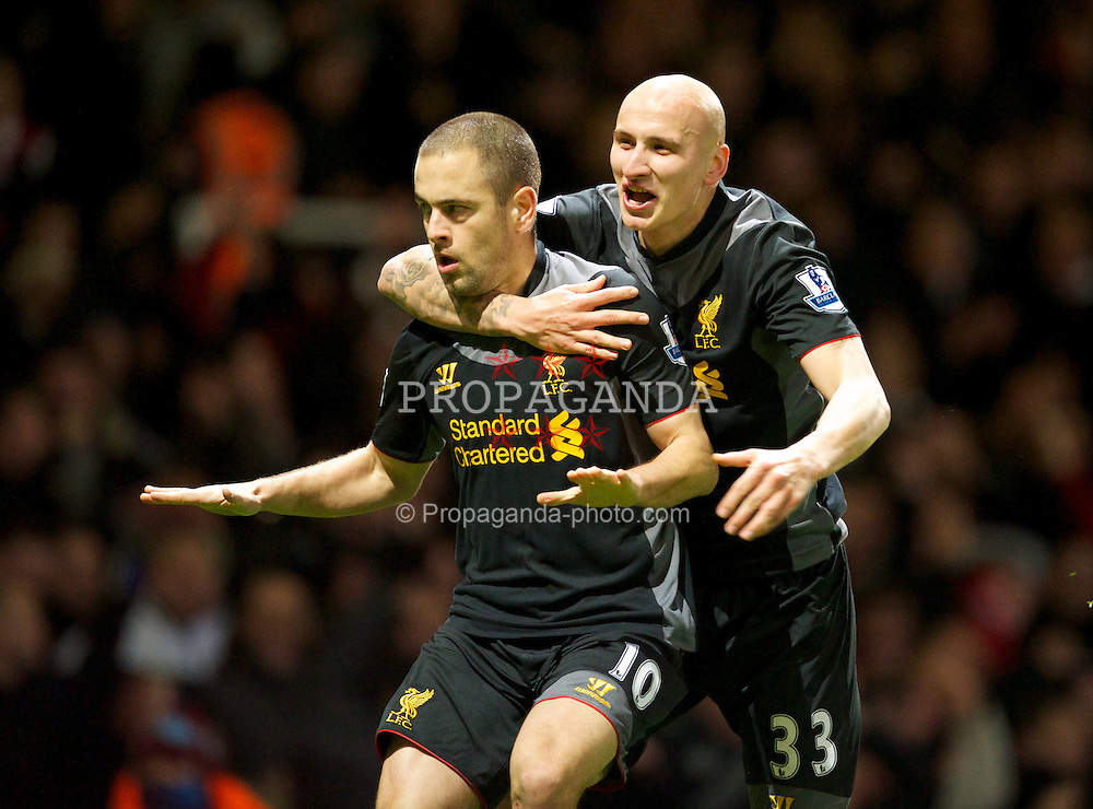 LONDON, ENGLAND - Sunday, December 9, 2012: Liverpool's Joe Cole celebrates scoring the second goal against West Ham United with Jonjo Shelvey during the Premiership match at Upton Park. (Pic by David Rawcliffe/Propaganda)