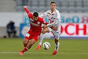 11.04.2015; Thun; Fussball Super League - FC Thun - FC Luzern: Alexander Gonzalez (Thun) links gegen Remo Freuler (Luzern)(Christian Pfander/freshfocus)