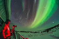 A photographer shooting an all-sky aurora display in the early morning hours (between 3 and 4 am) on February 10, 2018, from the upper deck of the Churchill Northern Studies Centre, Churchill, Manitoba. Visually, the aurora was dim and colourless. Kp Index was 1. This is looking northeast with Jupiter rising at far right. <br /> <br /> This is a single exposure with the 12mm Rokinon full-frame fish-eye lens on the Nikon D750.