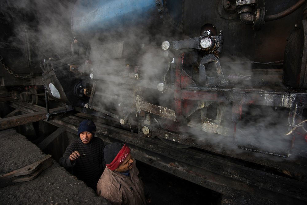 "Servicing steam engines of the DHR - Darjeeling Himalayan Railway - or ""Toy Train"", Darjeeling."