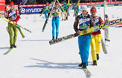 TEPES Jurij of Slovenia, POGRAJC Andraz of Slovenia, KRANJEC Robert of Slovenia and PREVC Peter of Slovenia celebrate  after winning the Flying Hill Team Event at 3rd day of FIS Ski Jumping World Cup Finals Planica 2013, on March 23, 2013, in Planica, Slovenia. (Photo by Vid Ponikvar / Sportida.com)
