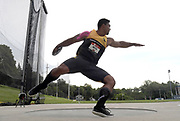 Jul 25, 2019; Des Moines, IA, USA; Sam Mattis wins the discus with a throw of 218-9 (66.69m) during the USATF Championships at Drake Stadium.