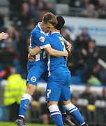 Brighton striker Solomon March celebrates after opening the scoring during the Sky Bet Championship match between Brighton and Hove Albion and Milton Keynes Dons at the American Express Community Stadium, Brighton and Hove, England on 7 November 2015. Photo by Bennett Dean.