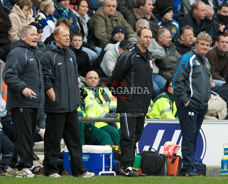 WIGAN, ENGLAND - Sunday, March 16, 2008: Wigan Athletic's manager Steve Bruce and Bolton Wanderers' manager Gary Megson during the Premiership match at the JJB Stadium. (Photo by David Rawcliffe/Propaganda)