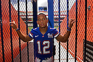 7/25/06- GAINESVILLE,FL.-  University of Florida QB Chris Leak poses for a portrait Tuesday at the players entrance to Florida Field. Leak enters his senior season playing football for the Florida Gators. . (staff/scott iskowitz)