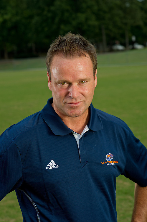 Aug 18, 2012; Morrow, GA, USA; Clayton State University's women's soccer head coach Gareth O'Sullivan during team portraits. Photo by Kevin Liles/kdlphoto.com