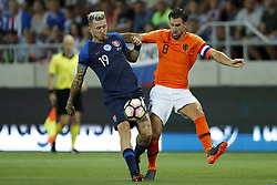(L-R) Juraj Kucka of Slovakia, Kevin Strootman of Holland during  the International friendly match between Slovakia and The Netherlands at Stadium Antona Malatinskeho on May 31, 2018 in Trnava, Slovakia