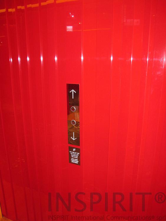 Red elevator door, Taiwan. Photo: Tuuli Sauren / Inspirit International Communications