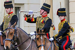© Licensed to London News Pictures. 06/02/2019. London, UK. An inspection is carried out of the Members of The King's Troop Royal Horse Artillery in Wellington Barracks before heading to Green Park for a 41-gun salute to mark the 67th anniversary of the Queen Elizabeth II's accession to the throne. Photo credit: Dinendra Haria/LNP