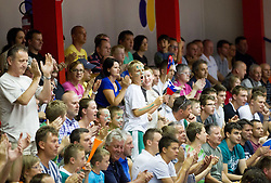 Supporters of Slovenia during basketball match between National teams of Slovenia and Lithuania in First Round of U20 Men European Championship Slovenia 2012, on July 14, 2012 in Domzale, Slovenia.  (Photo by Vid Ponikvar / Sportida.com)