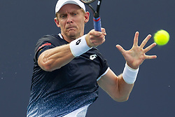 March 25, 2019 - Miami Gardens, FL, USA - Kevin Anderson, of South Africa, returns a shot to Joao Sousa, of Portugal, during their match at the Miami Open tennis tournament on Monday, March 25, 2019 at Hard Rock Stadium in Miami Gardens, Fla. (Credit Image: © Matias J. Ocner/Miami Herald/TNS via ZUMA Wire)