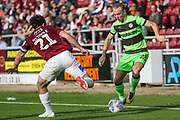 Forest Green Rovers Joseph Mills(23) takes on Northampton Towns John-Joe O'Toole(21) during the EFL Sky Bet League 2 match between Northampton Town and Forest Green Rovers at Sixfields Stadium, Northampton, England on 13 October 2018.
