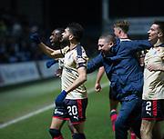 2nd December 2017, Global Energy Stadium, Dingwall, Scotland; Scottish Premiership football, Ross County versus Dundee; Dundee's Faissal El Bakhtaoui celebrates after scoring after scoring for 2-0