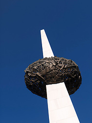 The Memorial of Rebirth monument in Revolution Square in Bucharest Romania