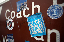 General view of Everton stickers on a road sign before the Premier League match at Goodison Park, Liverpool.