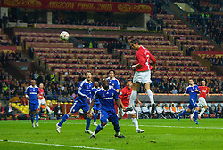 MOSCOW, RUSSIA - Wednesday, May 21, 2008: Manchester United's Cristiano Ronaldo scores the opening goal with a free header as Chelsea's players look on during the UEFA Champions League Final at the Luzhniki Stadium. (Photo by David Rawcliffe/Propaganda)