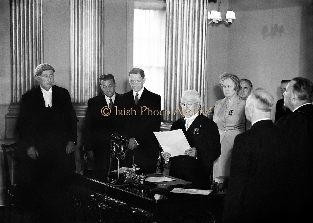Sean T. O'Ceallaigh taking the Oath of Office at Inauguration.25/06/1952..Seán Tomás Ó Ceallaigh; 25/08/1882 - 23/11/1966 was the second President of Ireland (1945-1959). He was a member of Dáil Éireann from 1918 until his election as President. During this time he served as Minister for Local Government (1932-1939) and Minister for Finance (1939-1945). He also served as Tánaiste (deputy prime minister) of Ireland from 1932 to 1945, under the title Vice-President of the Executive Council from 1932 until 1937 and Tánaiste from 1937 until 1945.