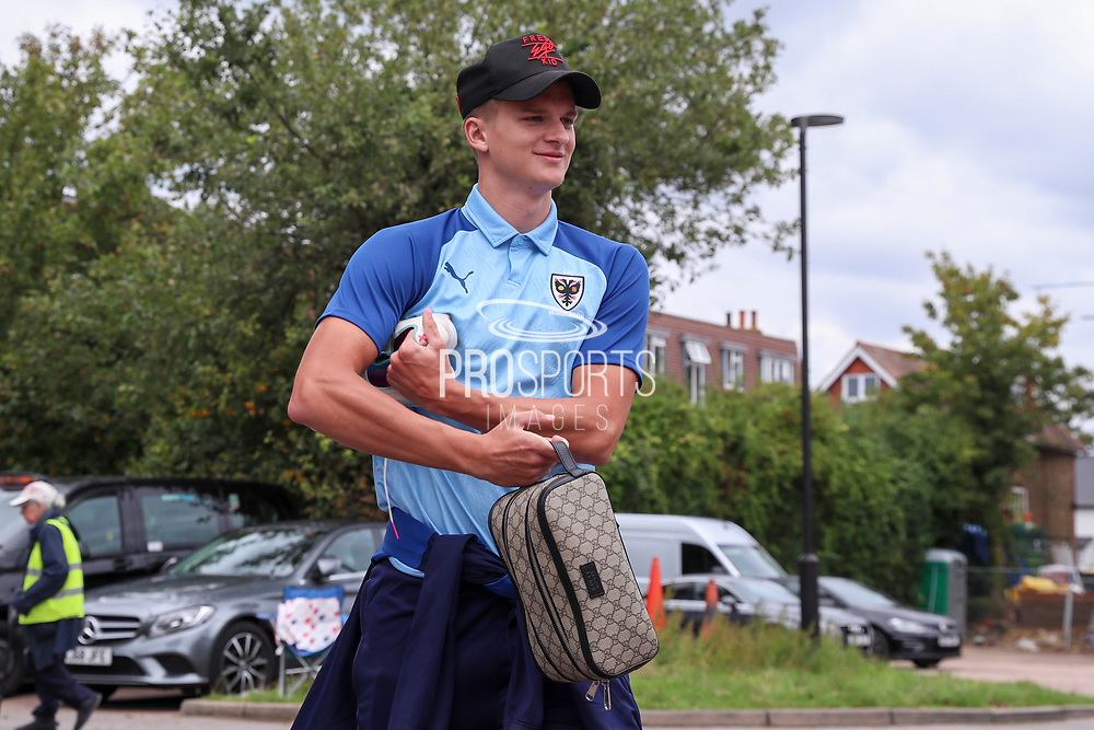AFC Wimbledon attacker Marcus Forss (15) arriving during the EFL Sky Bet League 1 match between AFC Wimbledon and Rochdale at the Cherry Red Records Stadium, Kingston, England on 5 October 2019.