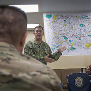 WEDNESDAY, OCTOBER 4- 2017--- - SAN JUAN, PUERTO RICO - <br /> Kevin Robinson, US NAVY Commodore Military Sealift Command Atlantic, leads a presentation aboard the US Naval Hospital Ship Comfort at the Port of San Juan where it started treating patients affected by Hurricane Maria.<br /> (Photo by Angel Valentin for NPR)