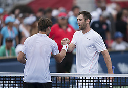 TORONTO, Aug. 7, 2018  Bradley Klahn (R) of the United States shakes hands with David Ferrer of Spain after their first round of men's singles match at the 2018 Rogers Cup in Toronto, Canada, Aug. 6, 2018. Bradley Klahn won 2-0. (Credit Image: © Xinhua via ZUMA Wire)