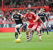 Dundee's Kane Hemmings takes on Aberdeen&rsquo;s Ryan Jack - Aberdeen v Dundee at Pittodrie<br /> - Ladbrokes Premiership<br /> <br />  - &copy; David Young - www.davidyoungphoto.co.uk - email: davidyoungphoto@gmail.com