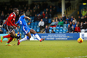 Gillingham FC defender Adedeji Oshilaja (6) scores a goal (score 1-0) during the EFL Sky Bet League 1 match between Gillingham and Shrewsbury Town at the MEMS Priestfield Stadium, Gillingham, England on 28 January 2017. Photo by Andy Walter.