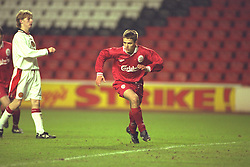 LIVERPOOL, ENGLAND - Tuesday, January 7, 1997: Liverpool's Michael Owen celebrates scoring from the penalty spot Manchester United during the FA Youth Cup match at Anfield. United won 2-1. (Pic by David Rawcliffe/Propaganda)