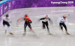 February 17, 2018 - Gangneung, South Korea - John-Henry Krueger of USA, Samuel Girard of Canada, Ryosuke Sakazume of Japan, Yira Set of Korea and Charles Hamelin of Canada start the Mens Short Track Speed Skating 1000M semifinals at the PyeongChang 2018 Winter Olympic Games at Gangneung Ice Arena on Saturday February 17, 2018. (Credit Image: © Paul Kitagaki Jr. via ZUMA Wire)