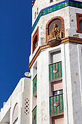 TETOUAN, MOROCCO - 6th April 2016 - Octagonal Minaret, Moroccan Mosque architecture, Tetouan Medina, Rif region of Northern Morocco.
