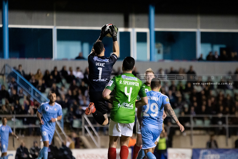 SYDNEY, AUSTRALIA - AUGUST 21: Marconi Stallions player Nenad Vekic (1) saves a shot at goal during the FFA Cup round of 16 soccer match between Marconi Stallions FC and Melbourne City FC on August 21, 2019 at Marconi Stadium in Sydney, Australia. (Photo by Speed Media/Icon Sportswire)