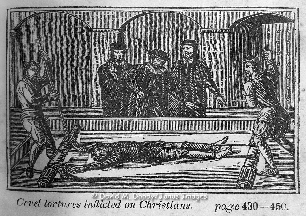 "Torture on the rack. Protestant vs Catholic violence. Vintage Woodcut Illustration from: ""Book of Martyrs"" Tortures carried out in the name of religion."