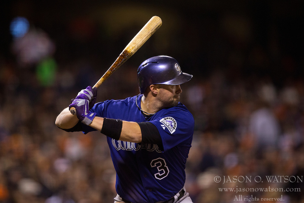 SAN FRANCISCO, CA - MAY 24: Michael Cuddyer #3 of the Colorado Rockies at bat against the San Francisco Giants during the sixth inning at AT&T Park on May 24, 2013 in San Francisco, California. The Colorado Rockies defeated the San Francisco Giants 5-0. (Photo by Jason O. Watson/Getty Images) *** Local Caption *** Michael Cuddyer