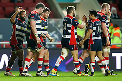 Bristol Rugby celebrate a try for Chris Brooker - Rogan Thomson/JMP - 11/12/2016 - RUGBY UNION - Ashton Gate Stadium - Bristol, England - Bristol Rugby v Pau - European Rugby Challenge Cup.